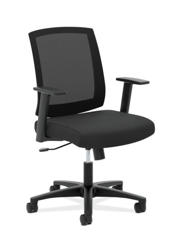 HON Mesh Mid-Back Task Chair   Center-Tilt, Tension, Lock   Fixed Arms   Black Mesh   Black Fabric