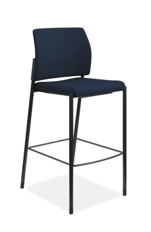 HON Accommodate Cafe Stool | Navy Fabric | Textured Black Frame | Armless