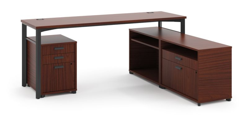 "HON Manage L-Workstation | Desk, 2 File Centers, Pedestal | 72""W x 60""D | Chestnut Laminate | Ash Finish"