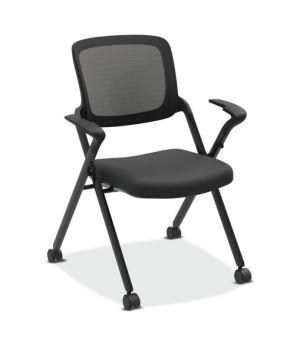 HON Assemble Mesh Back Nesting / Stacking Chair | Fixed Arms | Two Per Carton | Black Fabric | Black Mesh | Black Frame