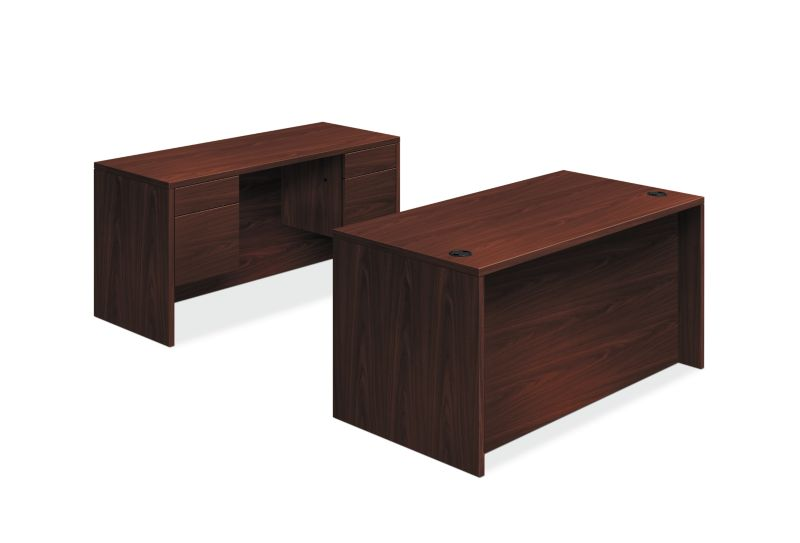 "HON 10500 Series Double Pedestal Desk / Credenza | 3/4 Pedestals | 4 Box / 4 File Drawers | 60""W | Mahogany Finish"