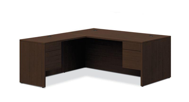 "HON 10500 Series L-Workstation | 3/4 Pedestals | 2 Box / 2 File Drawers | 66""W | Mocha Finish"