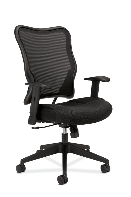 HON Wave Mesh High-Back Task Chair | Synchro-Tilt | Adjustable Arms | Black Sandwich Mesh Seat