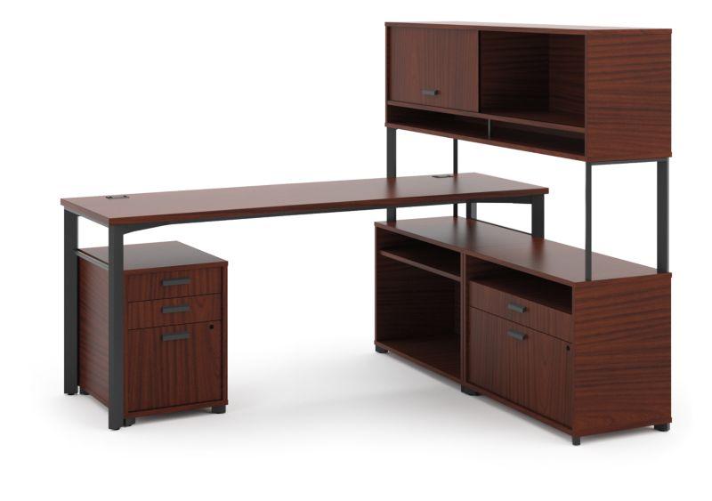 "HON Manage L-Workstation | Desk, 2 File Centers, Pedestal, Overhead | 72""W x 60""D | Chestnut Laminate | Ash Finish"
