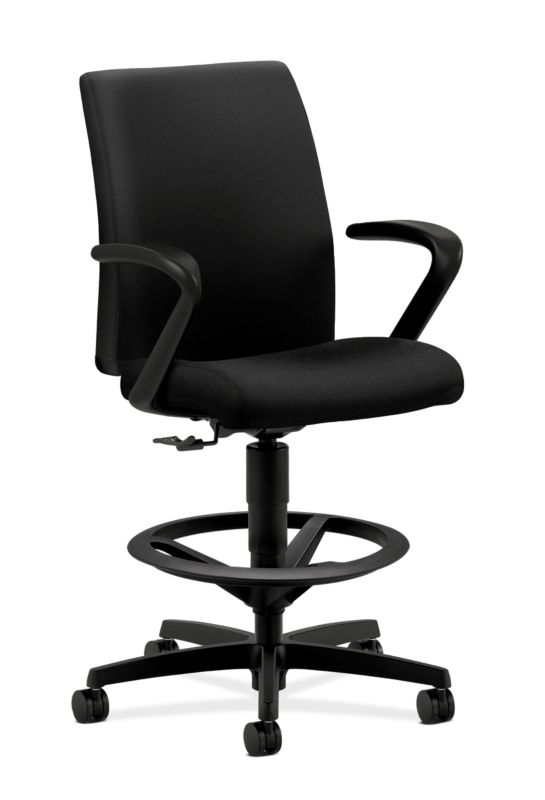 HON Ignition Task Stool | Adjustable Arms | Hard Casters | Upholstered Back | Black Fabric | Standard Base | Black Frame