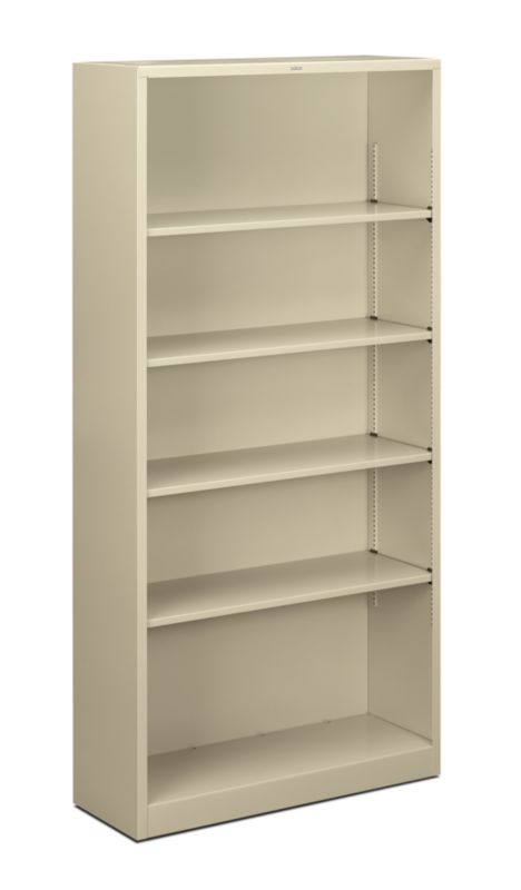 "HON Brigade Steel Bookcase | 5 Shelves | 34-1/2""W | Putty Finish"