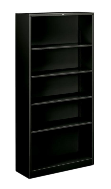 "HON Brigade Steel Bookcase | 5 Shelves | 34-1/2""W | Black Finish"