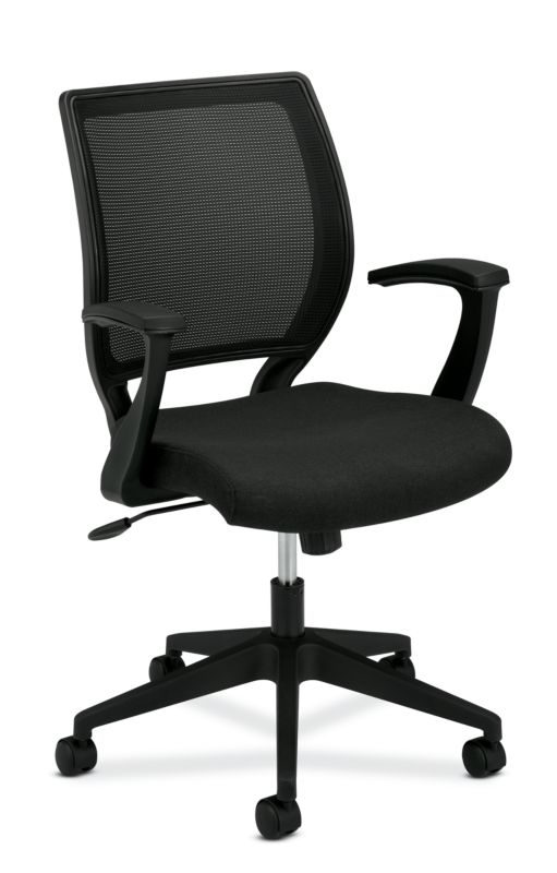 HON Mesh Mid-Back Task Chair | Center-Tilt | Fixed Arms | Black Fabric