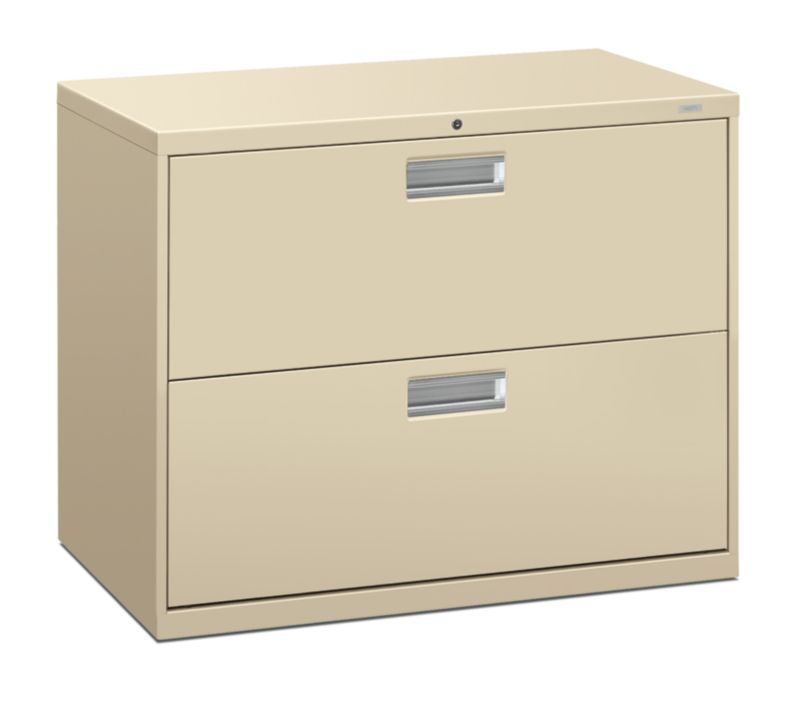 """HON Brigade 600 Series Lateral File   2 Drawers   Aluminum Pull   36""""W   Putty Finish"""