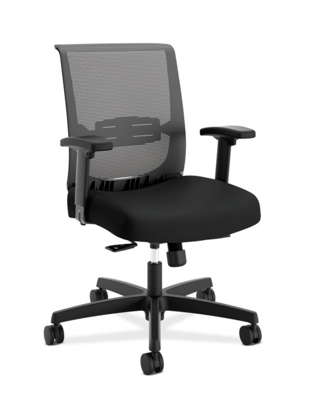 HON Convergence Task Chair | Synchro-Tilt With Seat Slide Control | Height- and Width-Adjustable Arms | Black Mesh and Seat Fabric