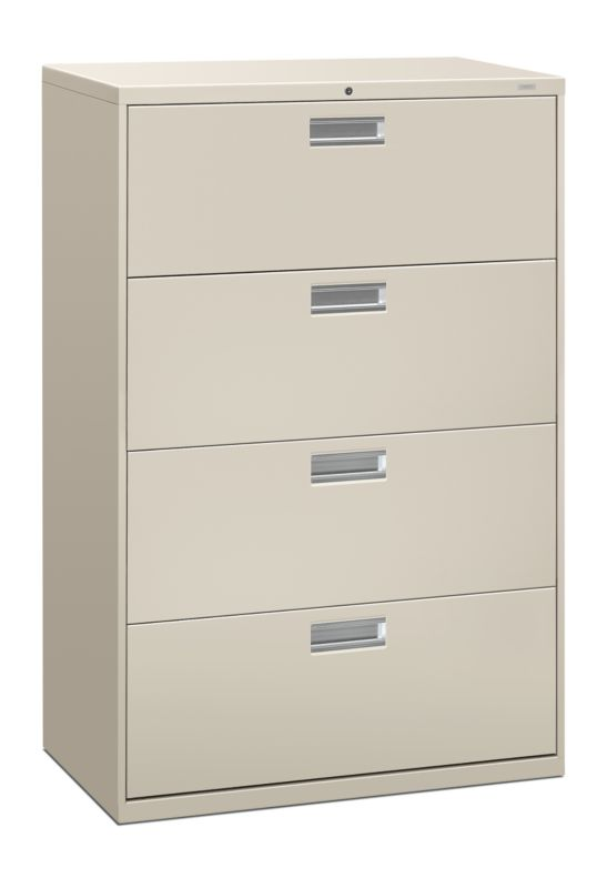 """HON Brigade 600 Series Lateral File   4 Drawers   Aluminum Pull   36""""W   Light Gray Finish"""