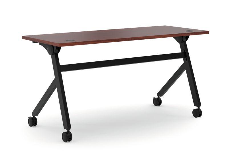 """HON Multi-Purpose Table   Flip Base   60""""W   Chestnut Laminate   Black Finish"""