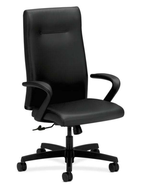 HON Ignition Executive High-Back Chair   Center-Tilt   Fixed Arms   Black Leather