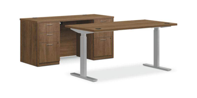 """HON Foundation Office Suite with Storage   Height-Adjustable   Pinnacle Laminate   60""""W x 96""""L"""