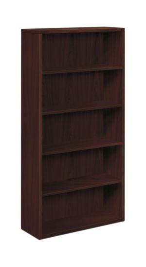 HON 10500 Series Bookcase   5 Shelves   36″W   Mahogany Finish