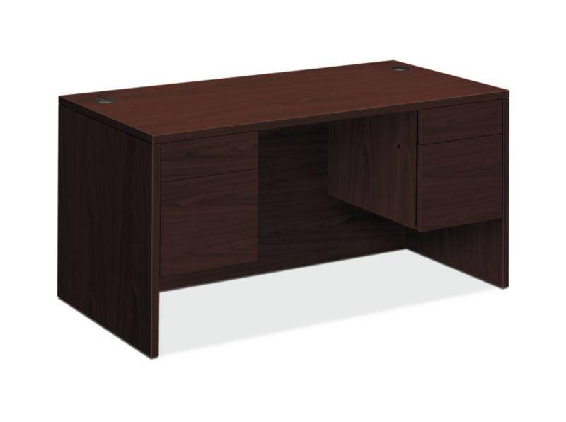 "HON 10500 Series Double Pedestal Desk   2 Box / 2 File Drawer   60""W   Mahogany Finish"