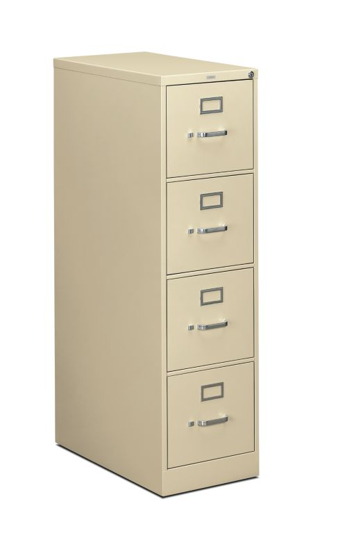 """HON 310 Series Vertical File   4 Drawers   Letter Width   15""""W x 26-1/2""""D   Putty Finish"""