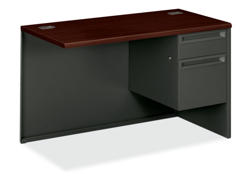 "HON 38000 Series Right Return | 1 Box / 1 File Drawer | 48""W | Mahogany Laminate | Charcoal Finish"