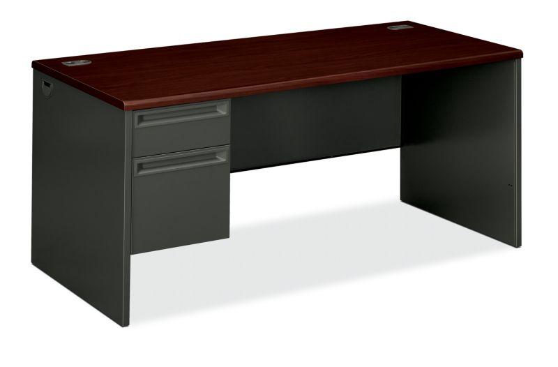 "HON 38000 Series Left Pedestal Desk | 1 Box / 1 File Drawer | 66""W | Mahogany Laminate | Charcoal Finish"