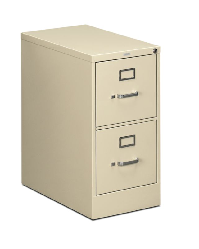 """HON 510 Series Vertical File   2 Drawers   Letter Width   15""""W x 25""""D   Putty Finish"""