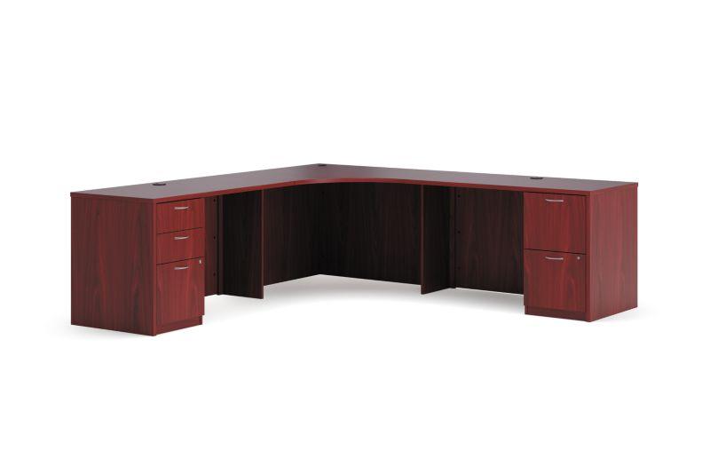 "HON Foundation Corner Workstation | 2 Box / 3 File Drawers | 84""W x 84""D | Shaker Cherry Laminate"
