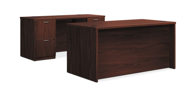 "HON Foundation Desk / Credenza | 2 Box / 3 File Drawers | 60""W x 96""D 