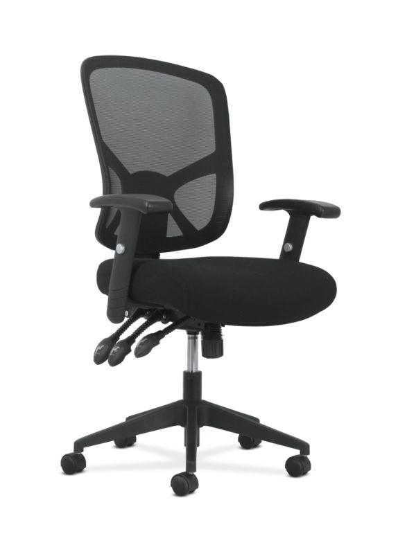 Sadie High-Back Task Chair   Height Adjustable Arms   Height Adjustable Back   Black Mesh Back