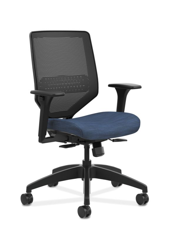 HON Solve Mid-Back Task Chair | Black 4-way stretch Mesh Back | Adjustable Lumbar Support | Adjustable Arms | Easy Assembly | Black Frame | Midnight Seat Fabric