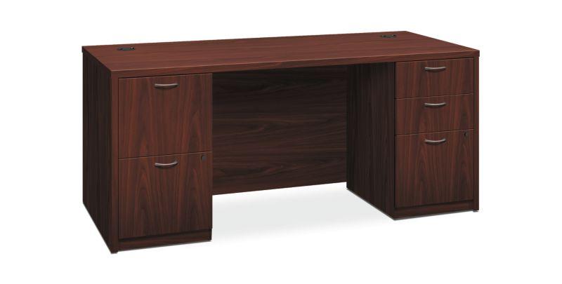 "HON Foundation Double Pedestal Desk | 2 Box / 3 File Drawers | 66""W x 30""D | Mahogany Laminate"