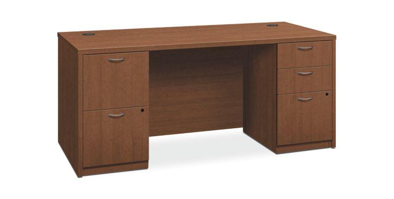 "HON Foundation Double Pedestal Desk | 2 Box / 3 File Drawers | 66""W x 30""D | Shaker Cherry Laminate"