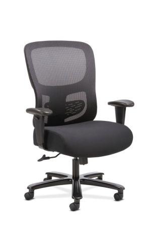Sadie Big and Tall Chair | Height-Adjustable Arms | Adjustable Lumbar | Black Fabric and Mesh