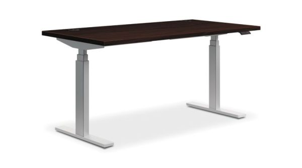 "HON Coordinate Height-Adjustable Table | Mahogany Laminate | 60""W x 24""D"