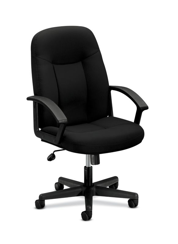 HON High-Back Executive Chair | Center-Tilt, Tension, Lock | Fixed Arms | Black Fabric