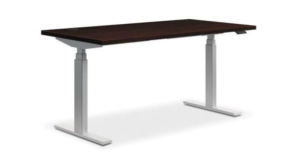 "HON Coordinate Height-Adjustable Table   Mahogany Laminate   60""W x 30""D"