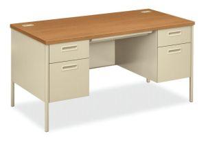 HON Metro Classic Double Pedestal Desk | 2 Box / 2 File Drawers | 60″W x 30″D x 29-1/2″H | Harvest Laminate | Putty Finish