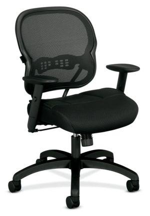 HON Wave Mesh Mid-Back Chair   Synchro-Tilt, Tension, Lock   Adjustable Arms   Black Mesh Back   Black Sandwich Mesh Seat