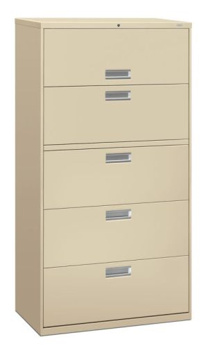 HON Brigade 600 Series Lateral File | 5 Drawers | Polished Aluminum Pull | 36″W x 18″D x 67″H | Putty Finish