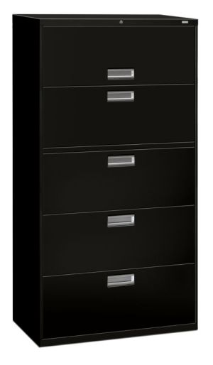 HON Brigade 600 Series Lateral File | 5 Drawers | Polished Aluminum Pull | 36″W x 18″D x 67″H | Black Finish