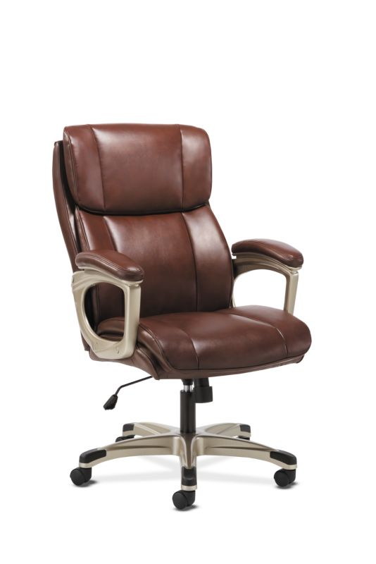 Sadie Executive Chair | Fixed Arms | Brown Leather