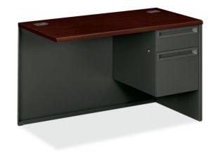 HON 38000 Series Right Return   1 Box / 1 File Drawer   48″W x 24″D x 29-1/2″H   Mahogany Laminate   Charcoal Finish
