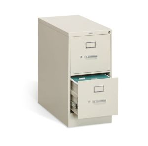HON 310 Series Vertical File | 2 Drawers | Letter Width | 15″W x 26-1/2″D x 29″H | Putty Finish