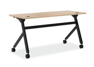 HON Multi-Purpose Table   Flip Base   60″W x 24″D   Wheat Laminate   Black Finish