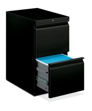 HON Brigade Mobile Pedestal | 2 File Drawers | Full Radius Pull | 15″W x 22-7/8″D x 28″H | Black Finish