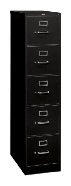 HON 310 Series Vertical File | 5 Drawers | Letter Width | 15″W x 26-1/2″D x 60″H | Black Finish