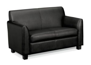 HON Circulate Tailored Two-Cushion Loveseat   Black SofThread Leather