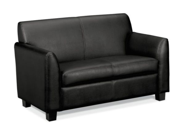 HON Circulate Tailored Two-Cushion Loveseat | Black SofThread Leather