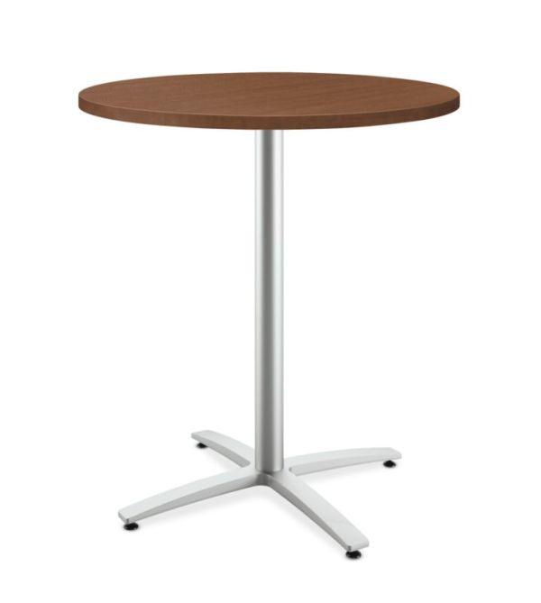 "HON Between Round Table | Standing Height X-Base | 36""D | Shaker Cherry Laminate | Shaker Cherry Edgeband | Textured Silver Finish"