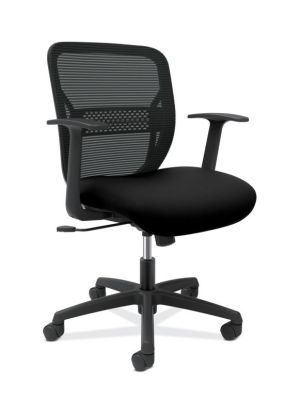 HON Gateway Task Chair | Mid-Back | Fixed Arms | Adjustable Lumbar | Black Fabric and Mesh