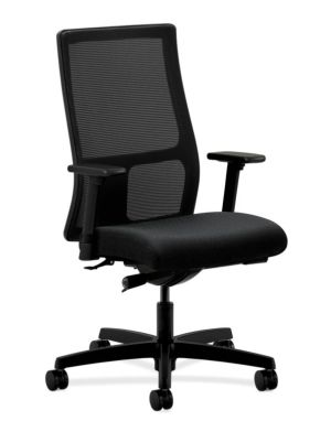 HON Ignition Mid-Back Mesh Task Chair | Synchro-Tilt, Tension, Multi-Position Lock, Seat Glide | Adjustable Arms | Black Fabric