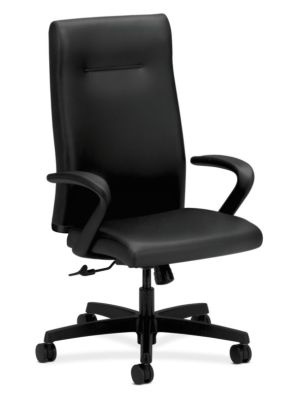 HON Ignition Executive High-Back Chair | Center-Tilt, Tension, Lock | Fixed Arms | Black Leather